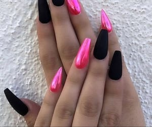 acrylic, black, and nails image