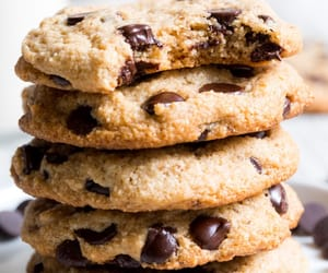 chocolate, chocolate chips, and cookie image