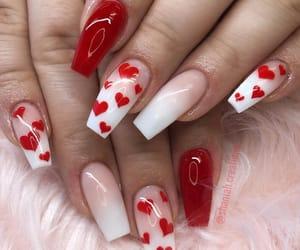 nails, beauty, and hearts image