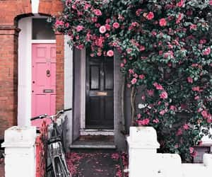 doors, pink, and flowers image