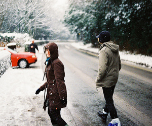girl, winter, and boy image