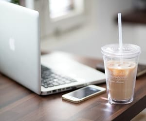 coffee, iphone, and apple image