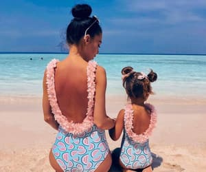 beach, daughter, and mother image