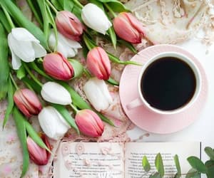 books, bouquet, and coffee image