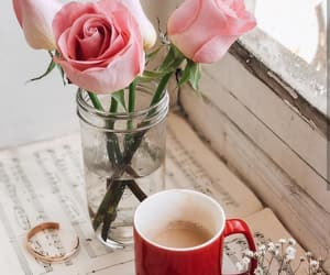 bouquet, coffee, and cup of coffee image