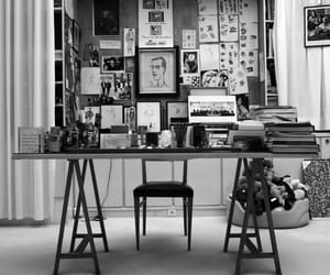 black and white and desk image