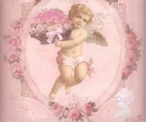pink, angel, and flowers image