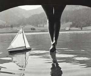 black and white, boat, and feet image