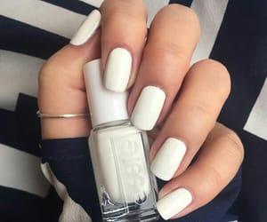 manicure, white nails, and nail polish image