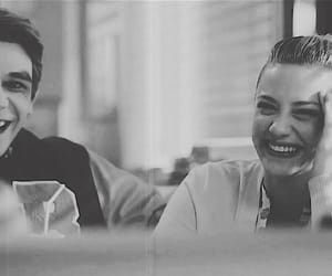 black and white, diner, and laugh image