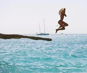 girl, jump, and place image