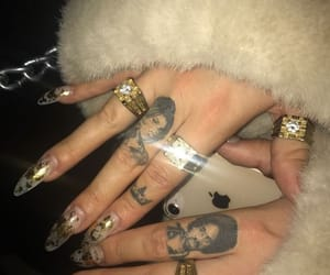 nails, gold, and hands image