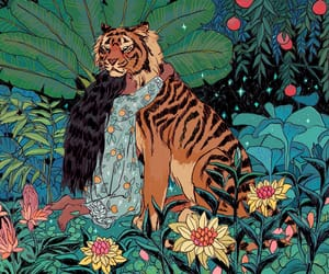 flowers, art, and tiger image