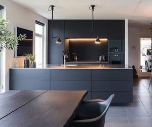 black, interior, and kitchen image