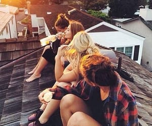 girl, roof, and friends image