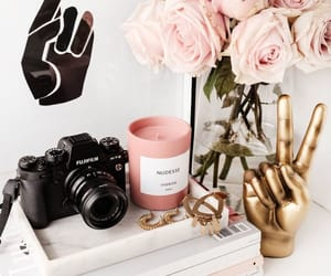 accessories, candle, and flowers image