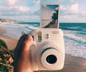 beach, photography, and polaroid image