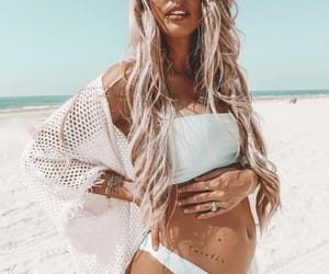 pregnant, beach, and girl image