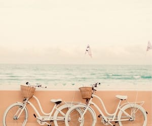 beach, bike, and ocean image