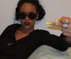 rihanna, nails, and black image