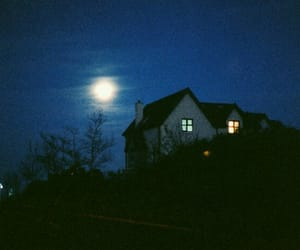 blue, house, and moon image