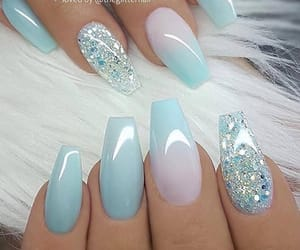 blue nails and pretty image