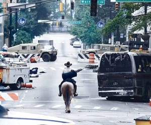 horses, the walking dead, and rick grimes image