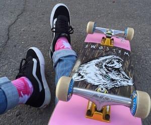 pink, skate, and skateboard image
