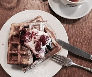 breakfast, tasty, and waffles image