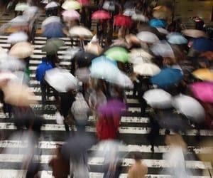 people, umbrella, and rain image