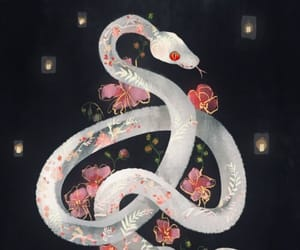 art, snake, and flowers image
