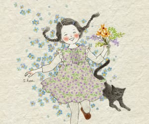 cat, floral, and flower image