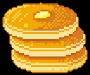 overlay, pancakes, and pixel image
