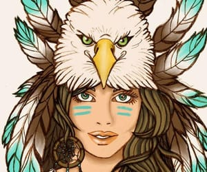 feather, girl, and owl image