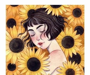 sunflower, girl, and art image