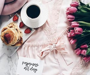 breakfast, pink, and coffee image