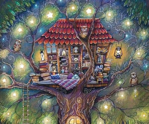art, books, and treehouse image