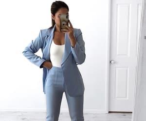 baby blue, blazer, and heels image