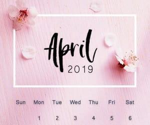 april, calendar, and flowers image