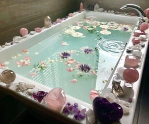 crystal, bath, and flowers image