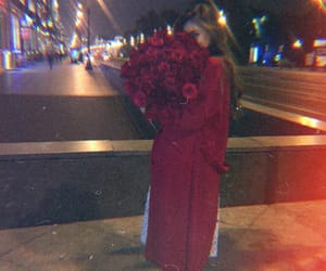 red, rose, and girl image