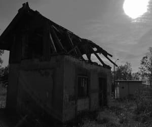 black and white, destroyed, and house image