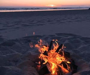 beach, sunset, and fire image