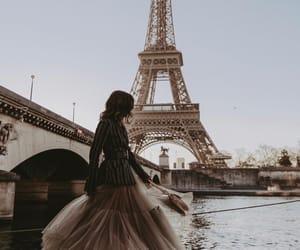 paris, dress, and eiffel tower image