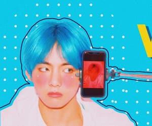 blue, kim taehyung, and blush image