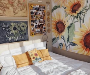 sunflower, room, and yellow image