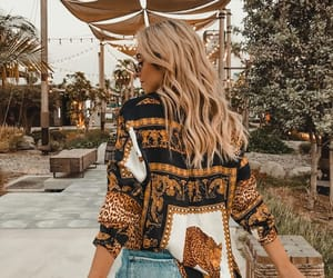 blonde hair, denim shorts, and summer image