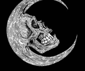 moon, skull, and dark image