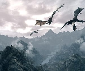 dragon, fantasy, and mountains image