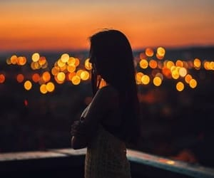 girl, lights, and sunset image